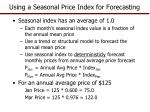 using a seasonal price index for forecasting