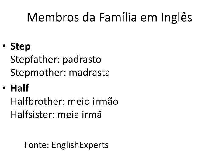 Membros da Família em Inglês