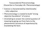 transcendental phenomenology husserlian or everyday life phenomenology