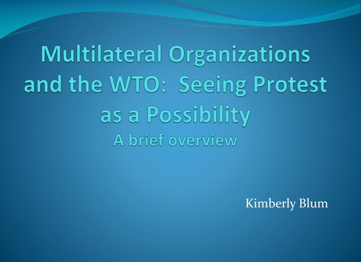 multilateral organizations and the wto seeing protest as a possibility a brief overview n.