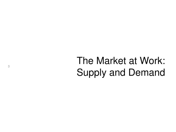 The market at work supply and demand