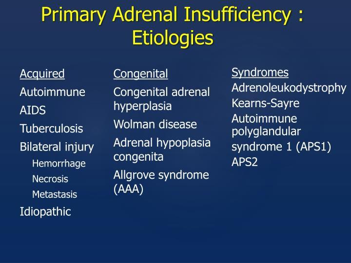 Primary Adrenal Insufficiency : Etiologies