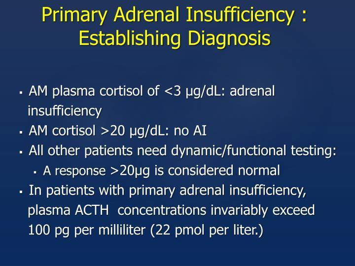 Primary Adrenal Insufficiency : Establishing Diagnosis