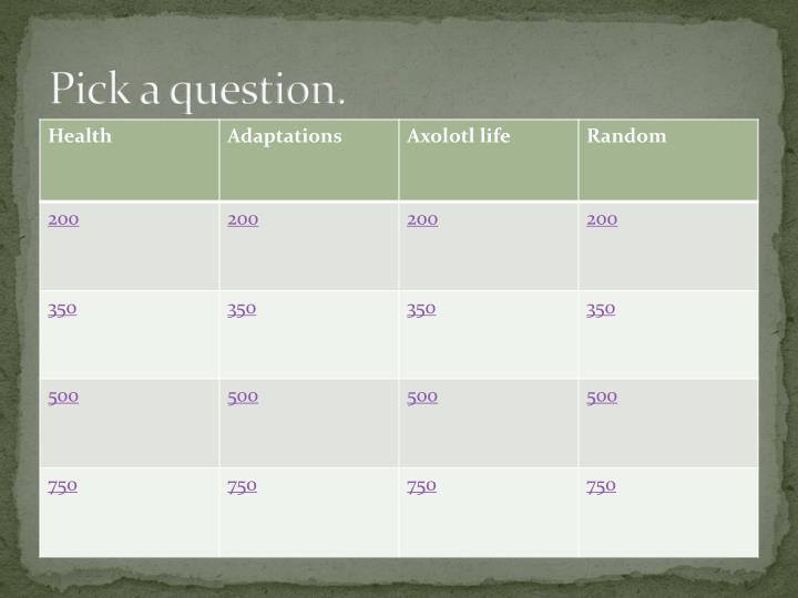Pick a question