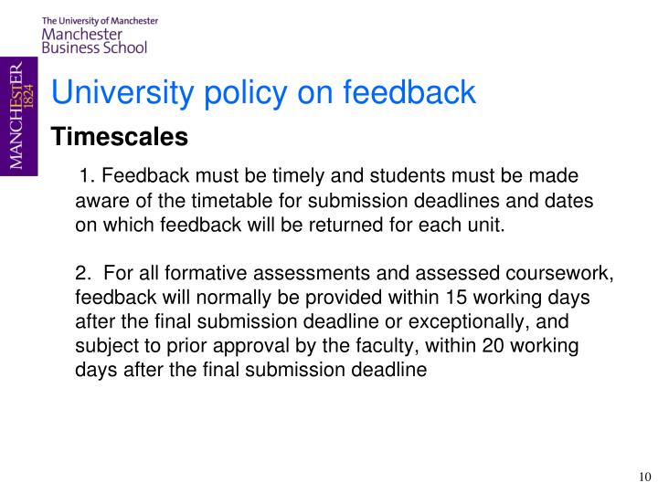 University policy on feedback
