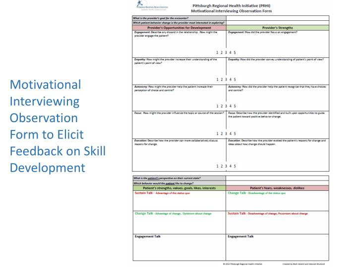 Motivational Interviewing Observation Form to Elicit Feedback on Skill Development