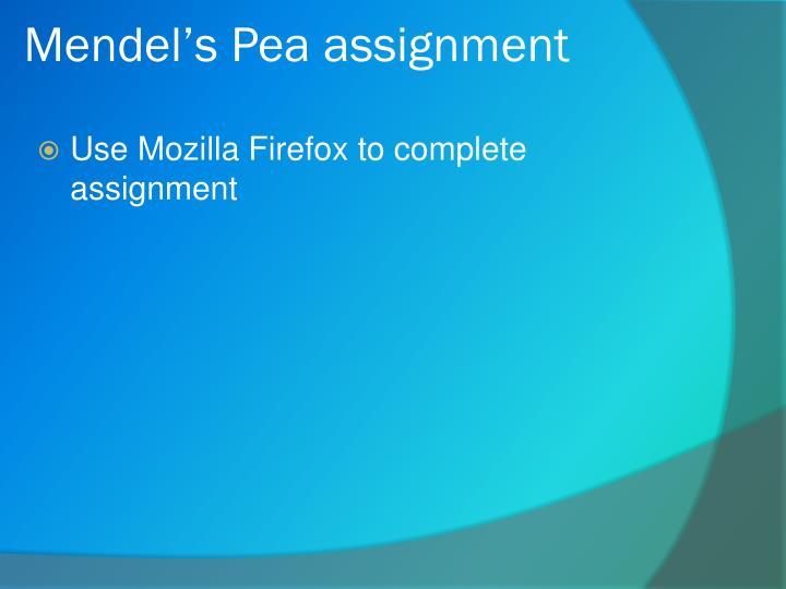 Mendel's Pea assignment