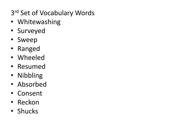 1 st set of vocabulary words sorrows tripping wealth inspiration magnificent hove presently