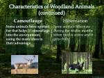 characteristics of woodland animals continued
