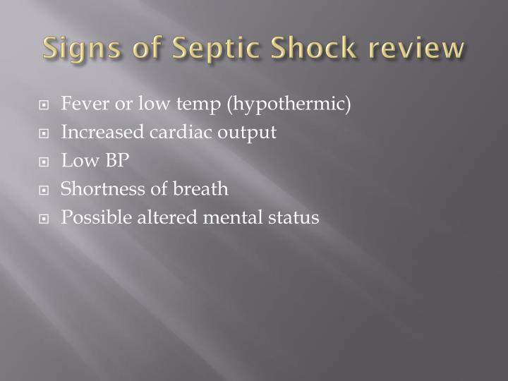 Signs of Septic