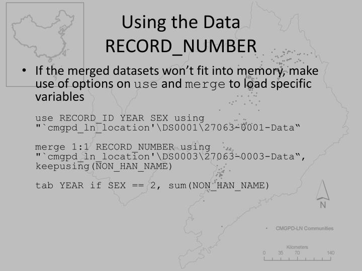 Using the Data