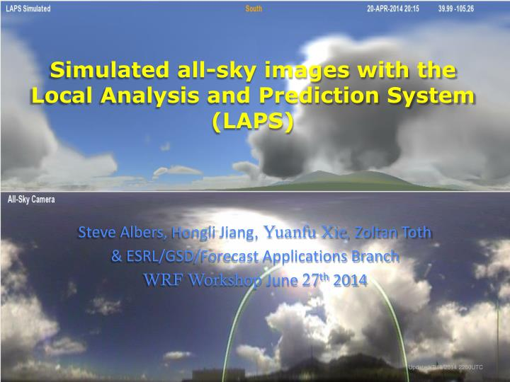 simulated all sky images with the local analysis and prediction system laps n.