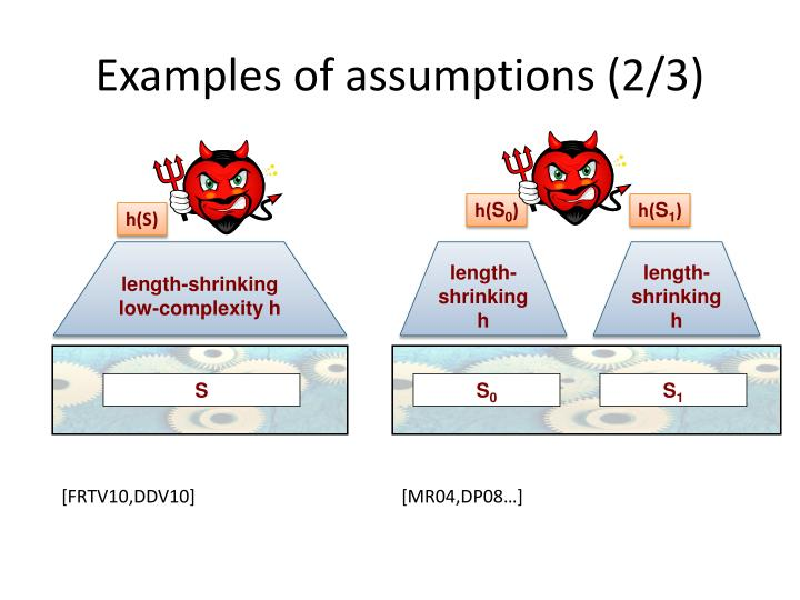 Examples of assumptions (2/3)