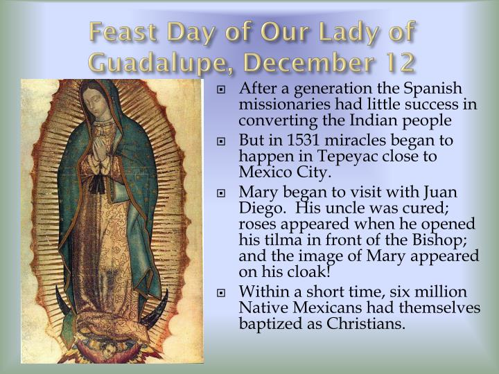Feast Day of Our Lady of Guadalupe, December 12