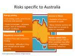 risks specific to australia