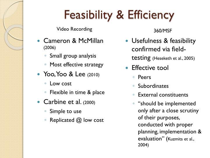 Feasibility & Efficiency