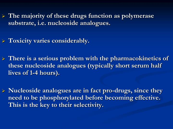 The majority of these drugs function as polymerase substrate, i.e. nucleoside analogues.