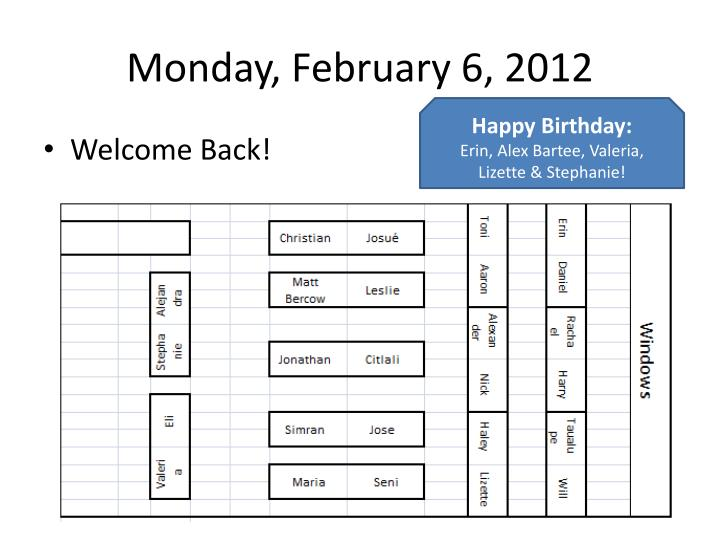 Monday february 6 20121