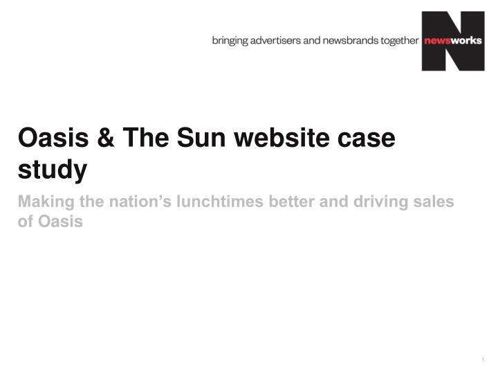oasis the sun website case study n.