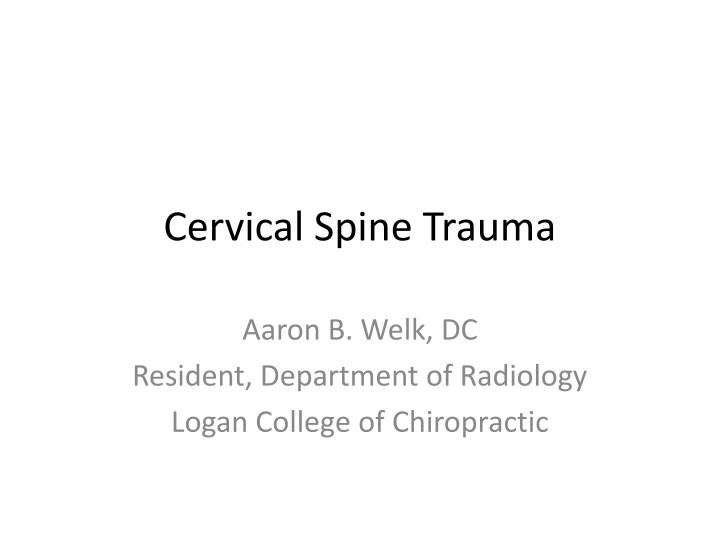cervical spine trauma n.