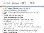 the 17th century 1603 1688