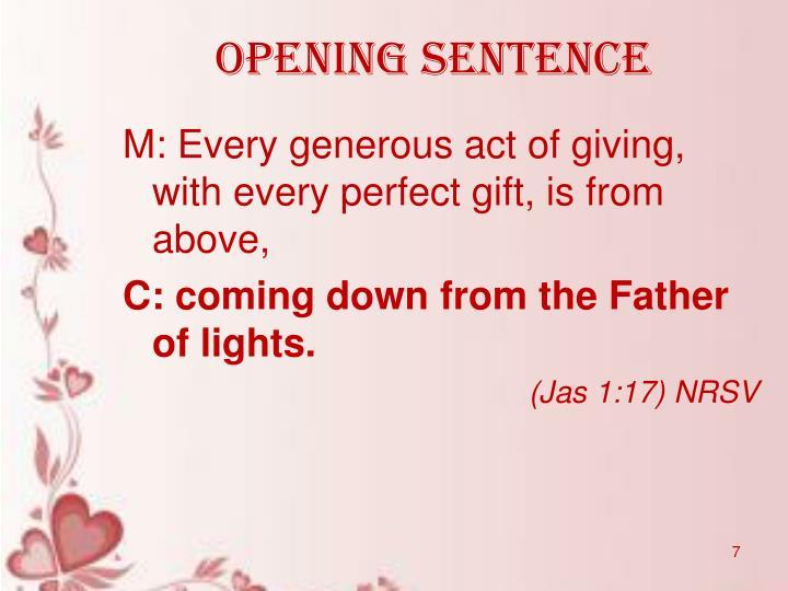 Opening sentence