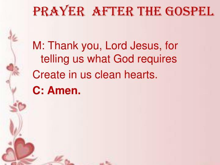 Prayer  after the gospel