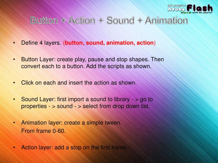 Button + Action + Sound + Animation