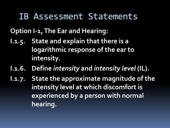 IB Assessment Statements