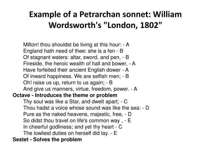 Example of a petrarchan sonnet william wordsworth s london 1802