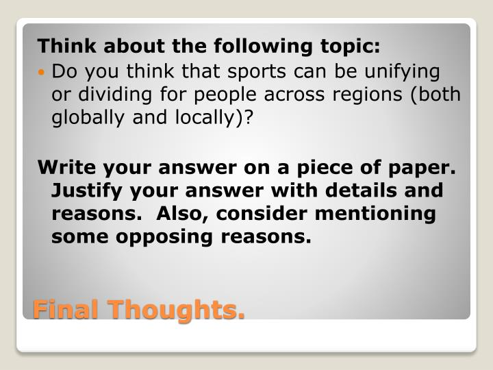 Think about the following topic: