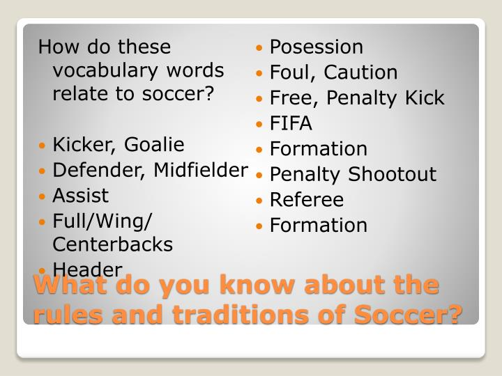 How do these vocabulary words relate to soccer?