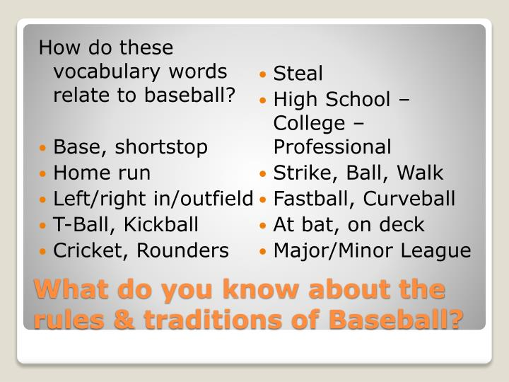 How do these vocabulary words relate to baseball?