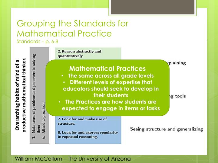 Grouping the Standards for