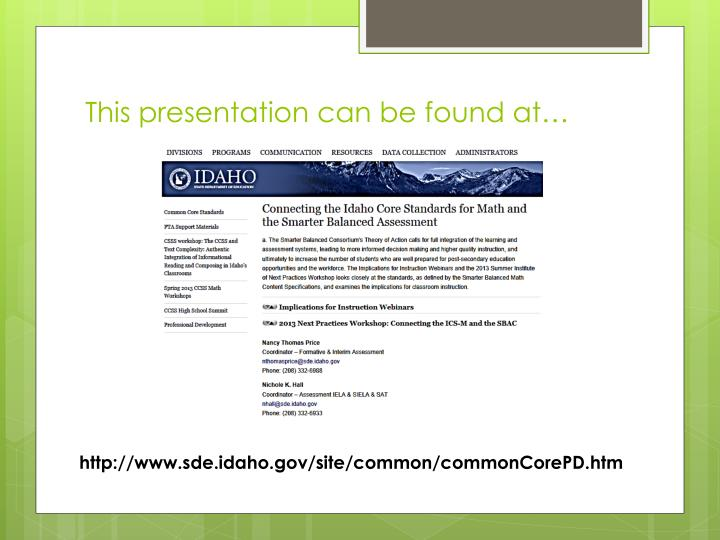 This presentation can be found at…