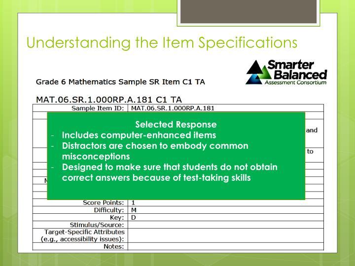 Understanding the Item Specifications