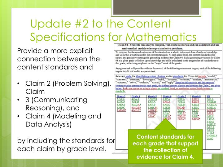 Update #2 to the Content Specifications for Mathematics