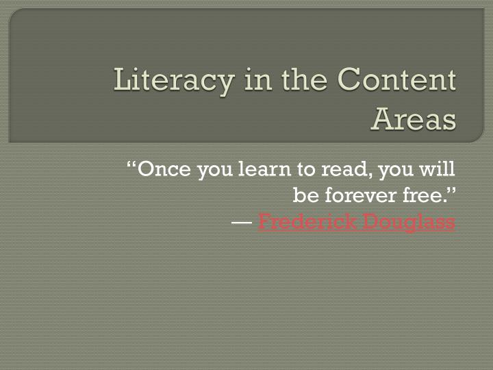 literacy in the content areas n.