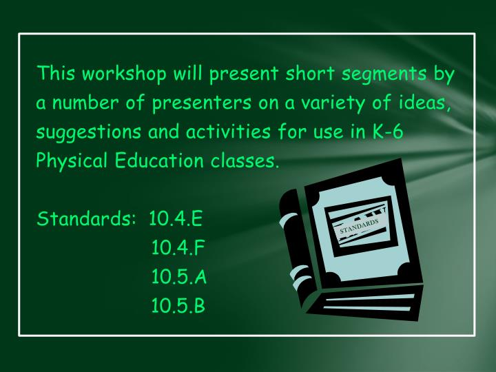 This workshop will present short segments by