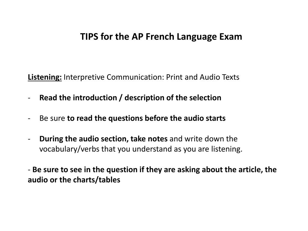 PPT - TIPS for the AP French Language Exam PowerPoint