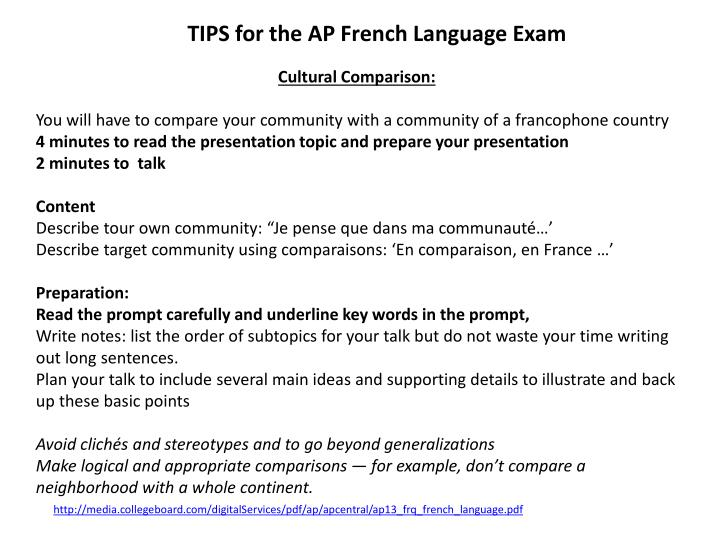 french presentation topic ideas