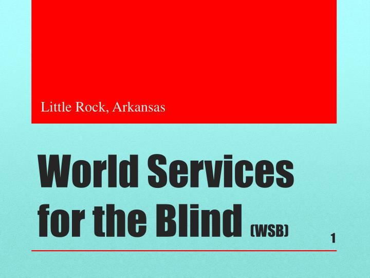 World services for the blind wsb