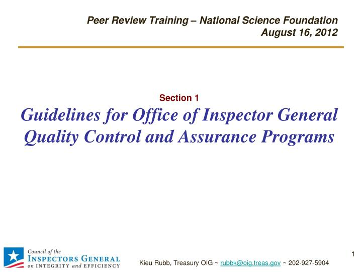 section 1 guidelines for office of inspector general quality control and assurance programs n.