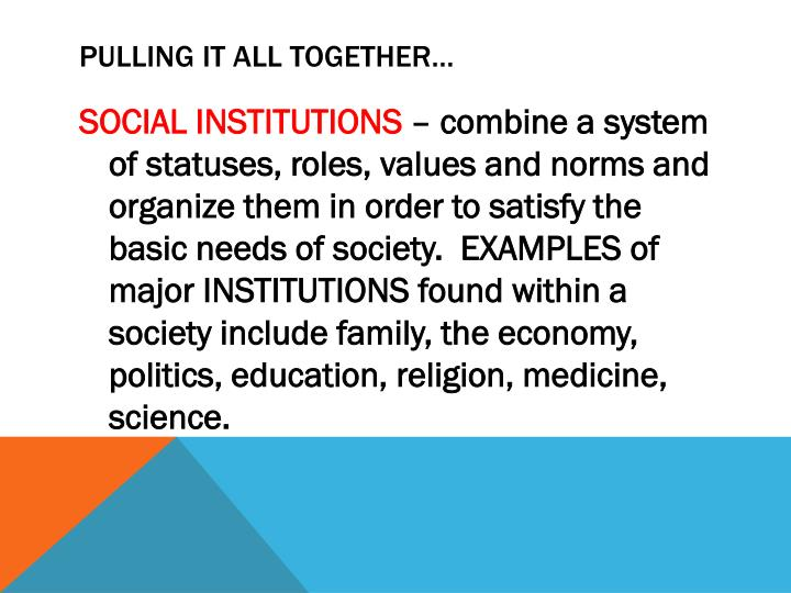 major institutions of society