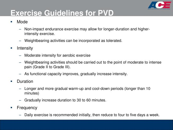 Exercise Guidelines for PVD