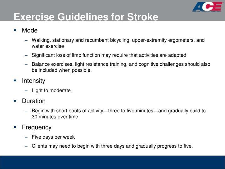 Exercise Guidelines for Stroke