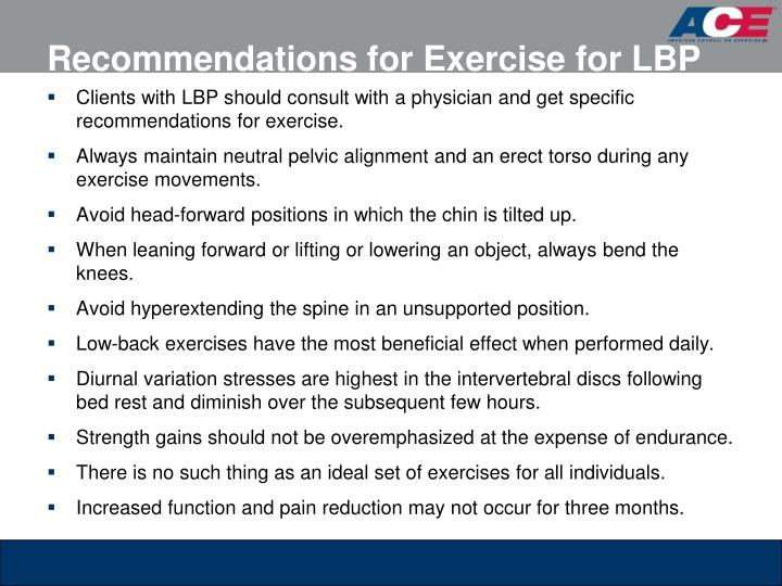 Recommendations for Exercise for LBP