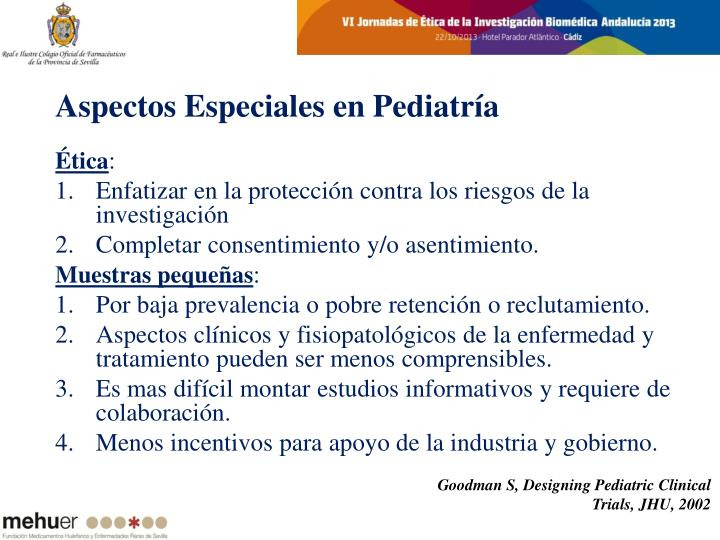 Aspectos Especiales en Pediatría