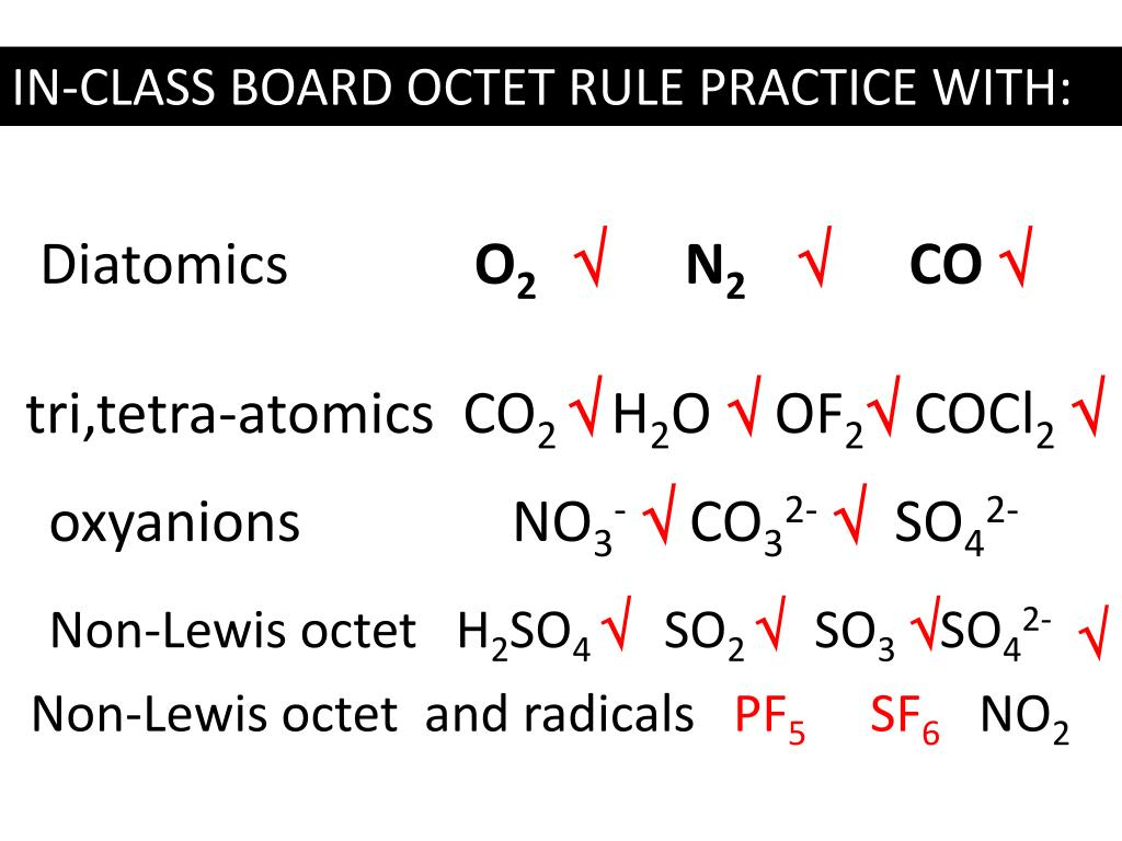co32-so42- non-lewis octet h2so4so2  so3 so42-  non-lewis octet  and radicals pf5 sf6no2  examples where we minimize formal charge