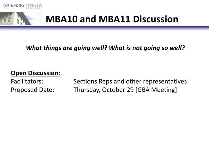 MBA10 and MBA11 Discussion